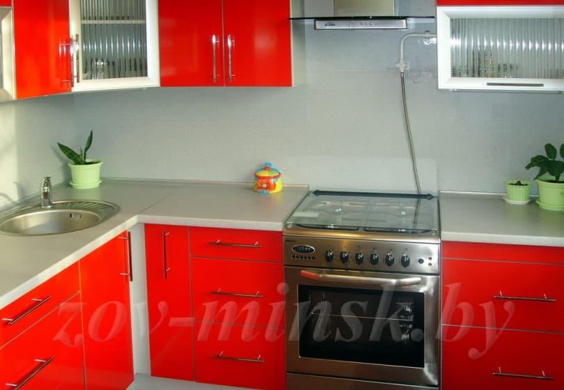 Кухня из пластика Красный