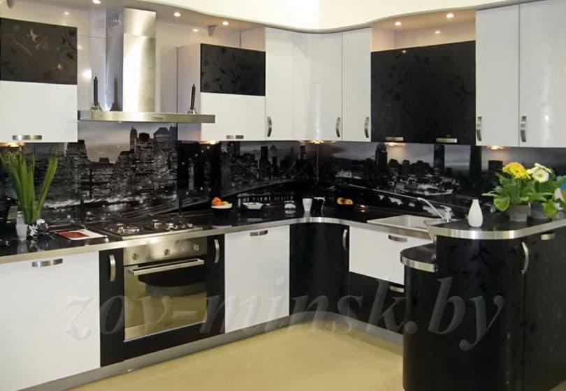 Кухня из пластика Бело-черная
