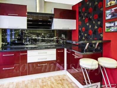 Кухня из мдф крашеного RAL3032/9003