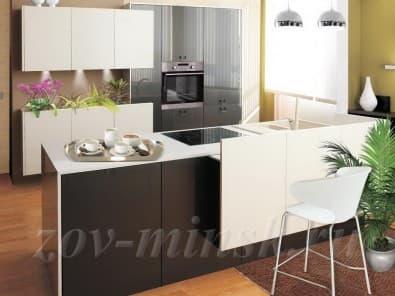 Кухня из акрила Серый металлик/Белый
