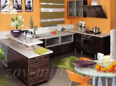Кухня из шпона тафель Макасар