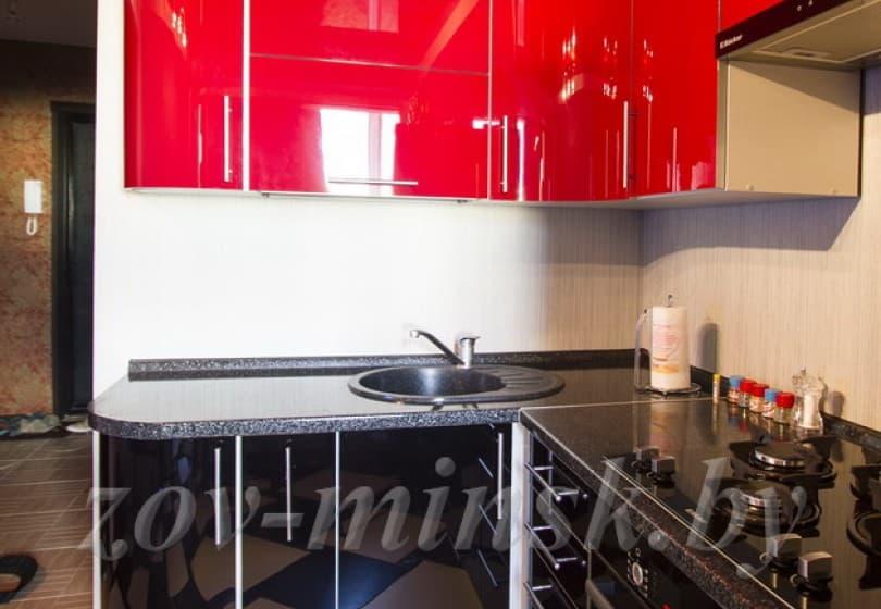 Кухня из пластика Красный/Черный